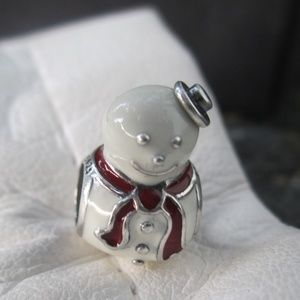 Pandora Silver Happy Snowman White and Red Enamel